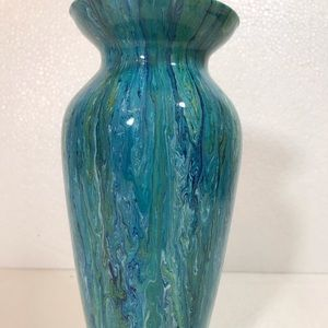 "Handmade Accents - Hand painted glass Vase Original New 10"" y'all"